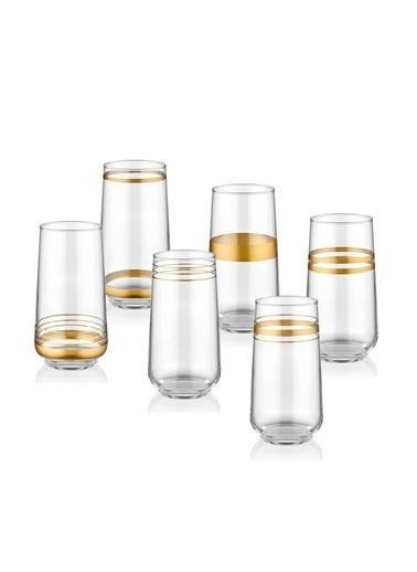 The Mia Lines Meşrubat Bardağı 6'lI Set - Gold Altın